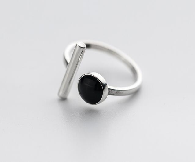 100% Authentic REAL.925 Sterling Silver Fine Jewelry handmade Black Agate stone &Lucky staright Bar open geometric Ring GTLJ1426100% Authentic REAL.925 Sterling Silver Fine Jewelry handmade Black Agate stone &Lucky staright Bar open geometric Ring GTLJ1426