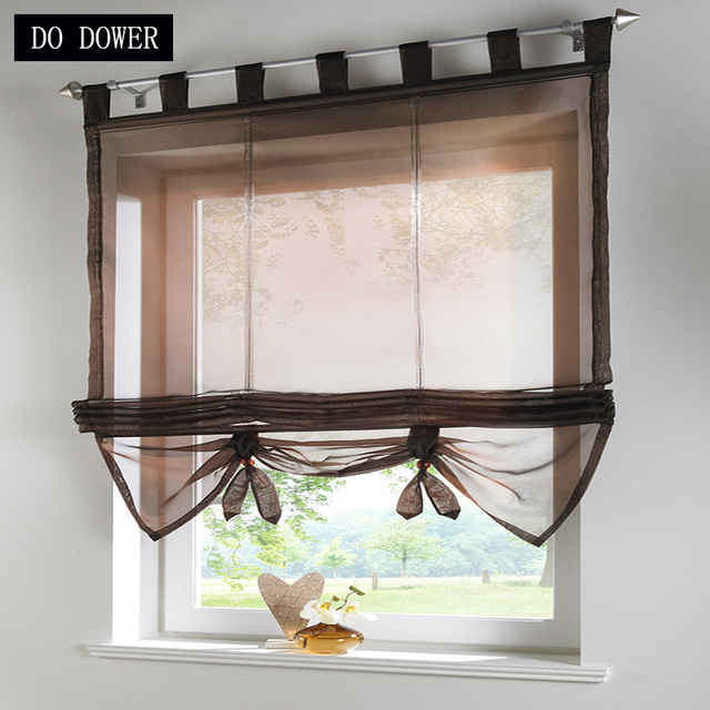 short kitchen curtains sink clogged ribbon roman tulle up and down pulling for living room balcony