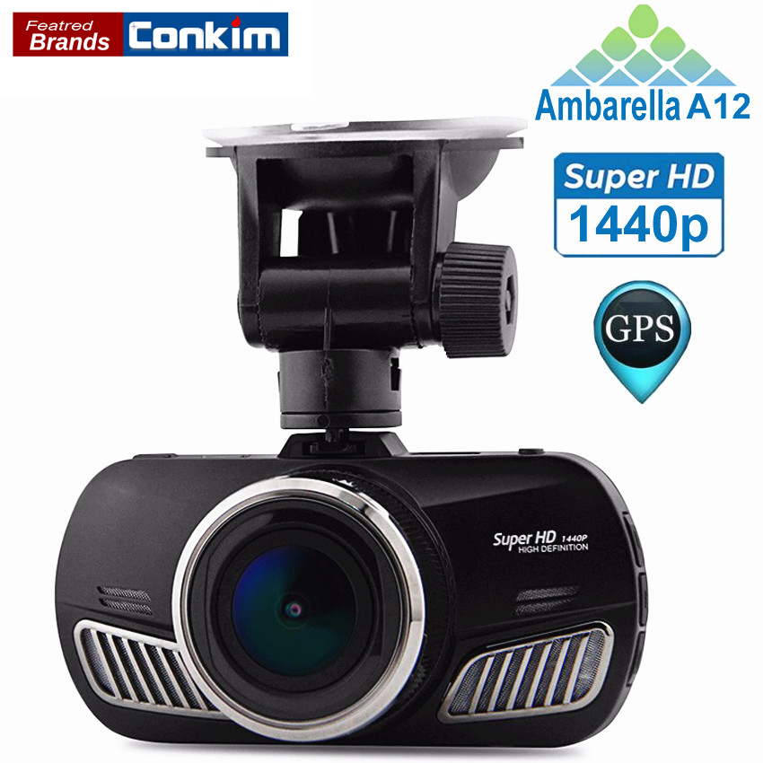 Conkim Car DVR Ambarella A12 Dash Camera Video Recorder HD 1440P OV4689 With GPS G-Sensor HDR H.264 Registrar Car blakbox CARs цена