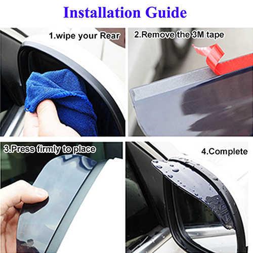 2 pcs Universal Vista Traseira Espelho Lateral Chuva Neve Escudo Preto Claro para o Caminhão Do Carro