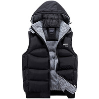 Fashion Sleeveless Jacket 2017 Men Thickening 100 Cotton Vest Hat Hooded Warm Vest Winter Waistcoat Men