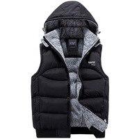 Fashion Sleeveless Jacket 2017 Men Thickening 100 Cotton Vest Hat Hooded Warm Vest Winter Waistcoat Men