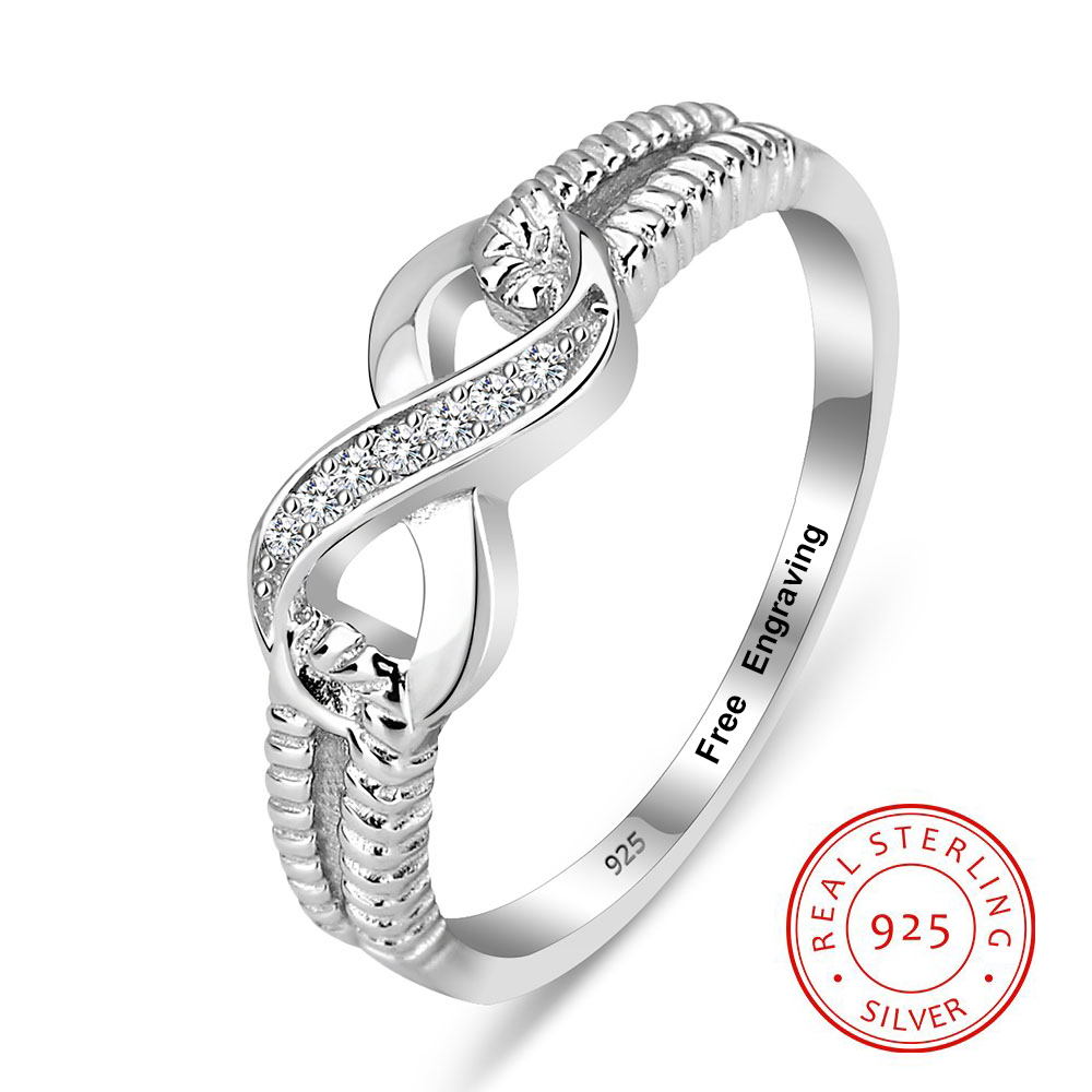 New Infinity Love Cubic Zirconia Anniversary Ring Solid 925 Sterling Silver
