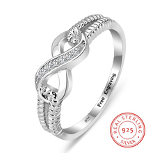 Personalized 925 Sterling Silver Eternity Ring Women Engraving Infinity Rings Wedding Promise Rings for Her (RI103717) customize 925 sterling silver heart birthstone rings 8 shape infinity love promise ring jewelry personalised gift ri101977