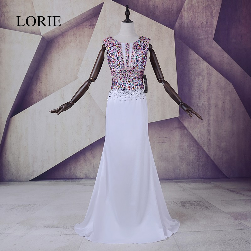 Bling Bling White   Prom     Dresses   2018 LORIE Silky Satin Mermaid Evening Gown Elegant Women Long Party   Dresses   Cap Short Sleevs