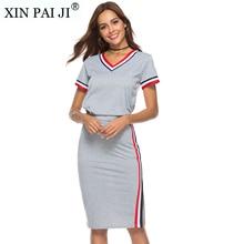 2018 Summer O-Neck Short Sleeve T shirt 2 Piece Set Women Top & Split Pencil Skirt Co-Ord Ladies Elegant Twopiece недорго, оригинальная цена