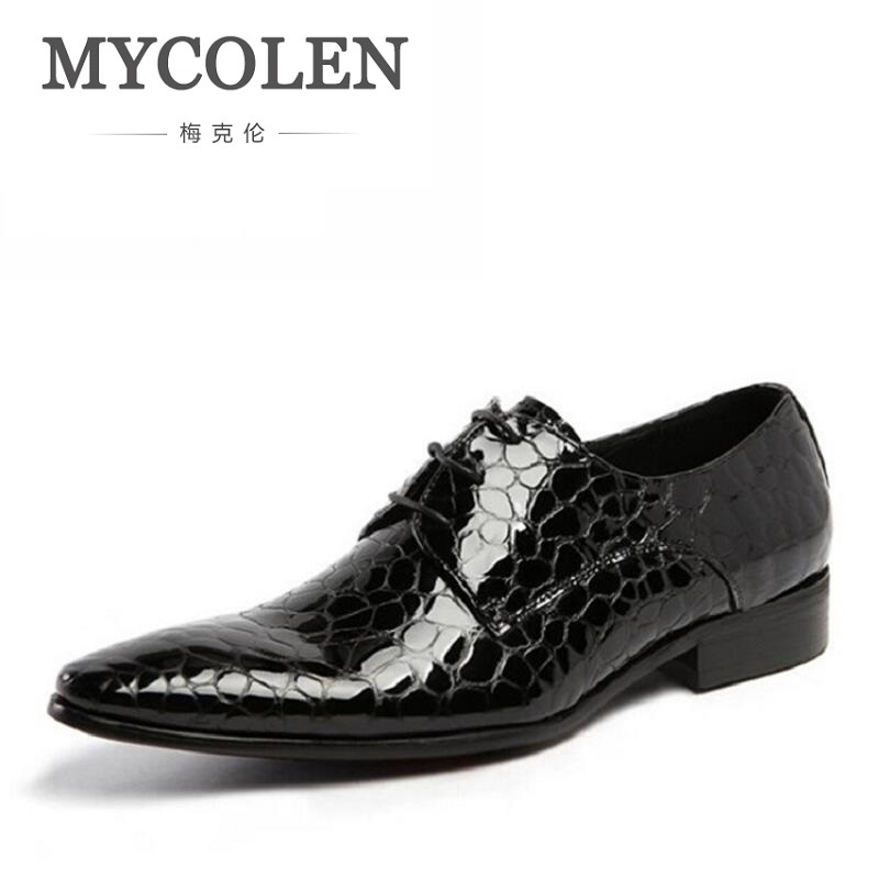MYCOLEN Men Oxfords Brand Fashion Lace-Up Formal Oxfords Men Wedding Shoes Men Black Business Casual Party Flats Luxury Product romanson часы romanson tl0392mw wh коллекция gents fashion