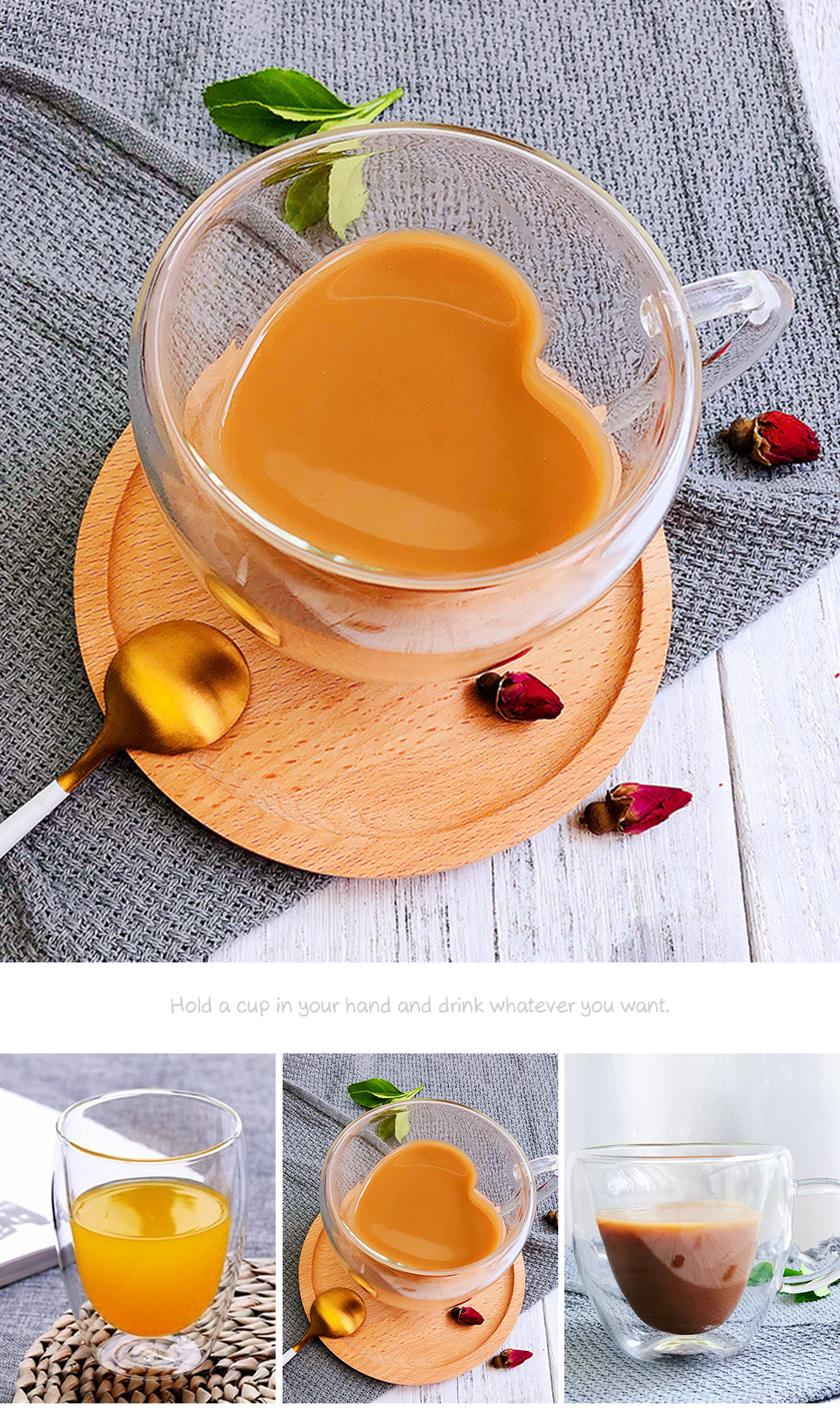 Heat Resistant Double Wall Glass CoffeeTea Cups And Mugs Travel Double Coffee Mugs With The Handle Mugs Drinking Shot Glasses  (1)