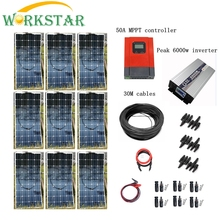9pcs Mono 100w Solar Modules with Pure Sine 4000W Inverter and MPPT 50A Controller House Use Off Grid Solar Power System