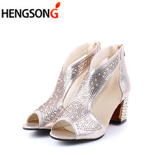 Fashion 2018 Women Sandals Bling 7cm High Heels Diamond Summer Square Heel  Women Shoes Wedding Shoes Leather Sandalia Mujer c4d7fd1a576c