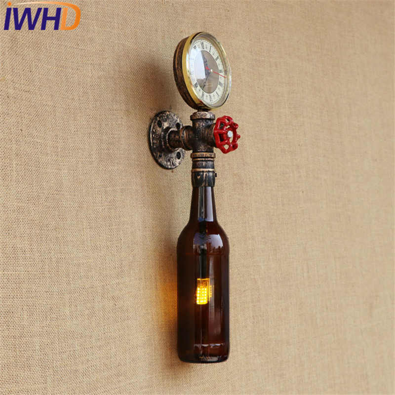 IWHD Loft Style Retro Iron Bottle Water Pipe Wall Lamp Sconces Industrial Vintage LED Wall Light Fixtures Indoor Lighting black color pipe retro loft vintage iron shade wall lamp sconces industrial home lighting fixture for living room free shipping