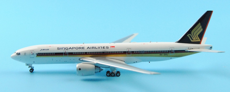Fine Ph enix 1: 400 11124 Singapore Airlines  B777-200ER 9V-SRJ JUBILEE Alloy aircraft model Collection model Holiday gifts