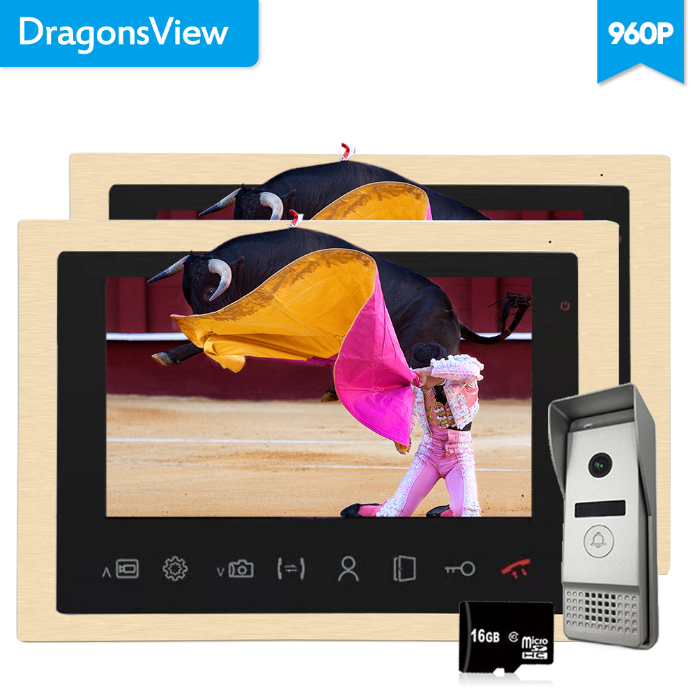 Dragonsview 10 Inch AHD Video Intercom Door Bell 960P 1 3MP HD IR Camera Wide Angle