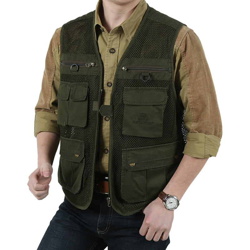 2018 Summer Mens Mesh Breathable Vest With Multi-pocket Vest Men Solid Zipper Two Colors Vest Plus Large Size 3XL Waistcoat