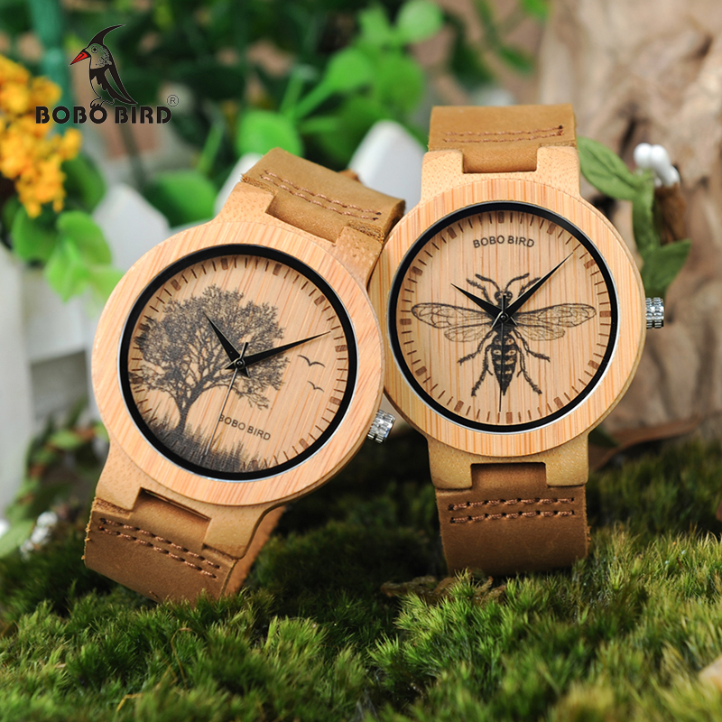 BOBO BIRD WP20 Mens Wooden Watches Lifelike Print Dial Face Fashion 3D Visual Bamboo Wood Quartz Watch Unisex Timepieces as Gift