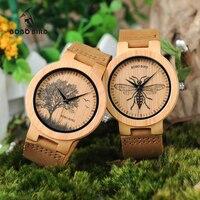 BOBO WP20 Mens Relojes De Madera de AVES Impresión Realista Cara Del Dial moda 3D Visual Bambú Madera Reloj de Cuarzo Unisex Relojes se regalo