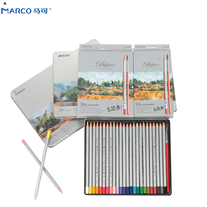 MARCO 48 Colored Pencils aquarela lapis de cor Professional Drawing 36 Colores Watercolor Pencil Set Art School Student Supplies marco 48 colored pencils aquarela lapis de cor professional drawing 36 colores watercolor pencil set art school student supplies