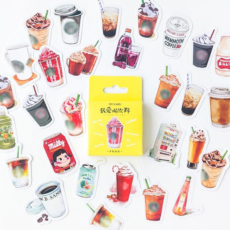 46 Pcs/pack Coffee Juice Drink Cute Decorative Stationery Stickers Scrapbooking Diy Diary Album Stick