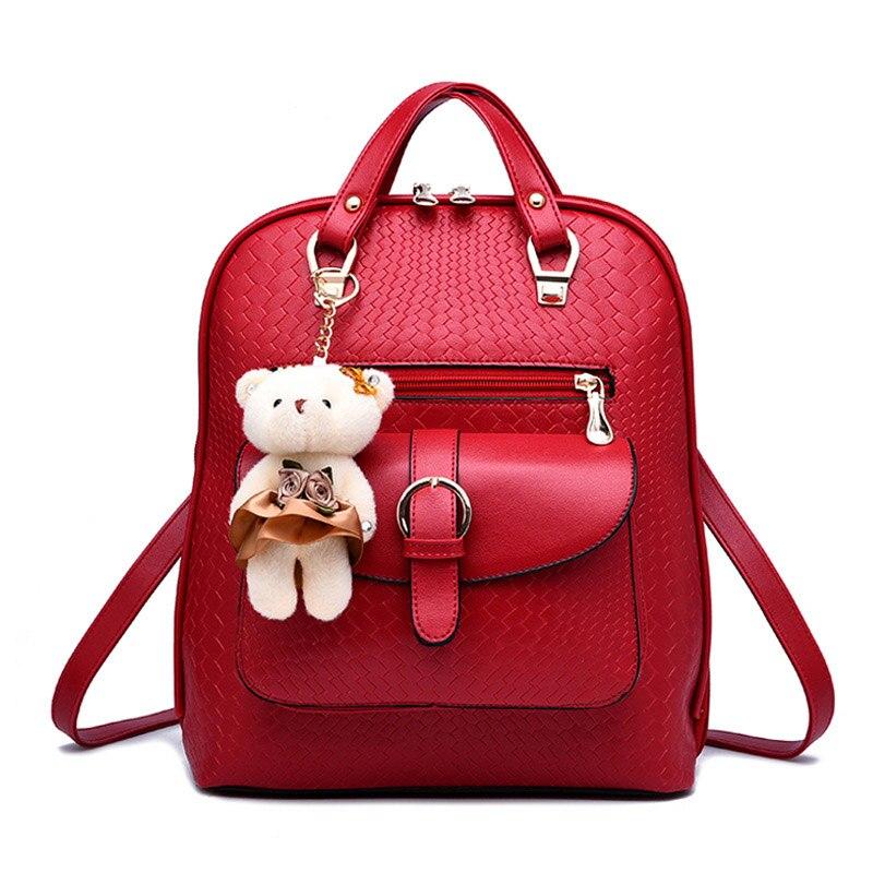 New Fashion Cute Bear Decoration Women Backpack Leather Mochila Escolar School Bags Teenagers Girls Top handle