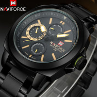 2018 New NAVIFORCE China Brand Luxury Watches Men 12/24 Auto Date Quartz Watch Week Month Black Yellow Full Steel Band Clock