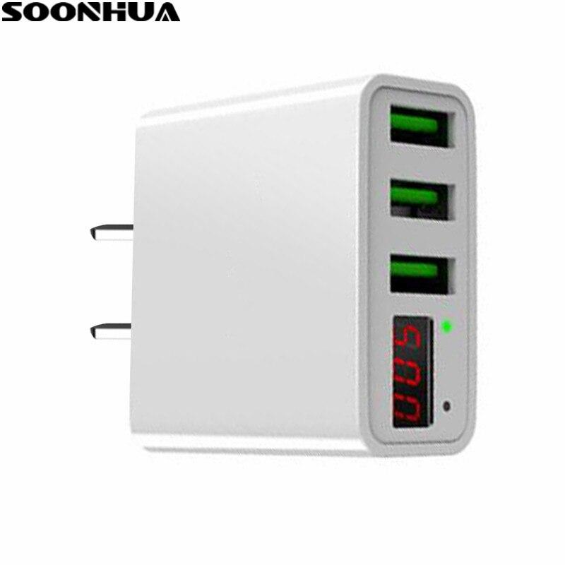 SOONHUA 3 Usb-anschluss Ladegerät Adapter Led-anzeige EU/Us-stecker Die Max 3.0A Smart Schnelllade Bewegliche Ladegerät für iPhone iPad