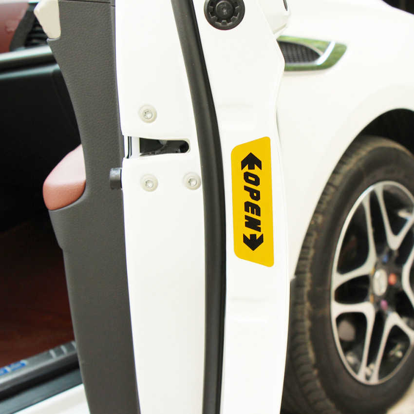4 pçs/set Porta estilo Do Carro Adesivos de Advertência Aberto Para Volkswagen POLO Tiguan Golf Passat Jetta Bora Touareg Touran CC Phaeton