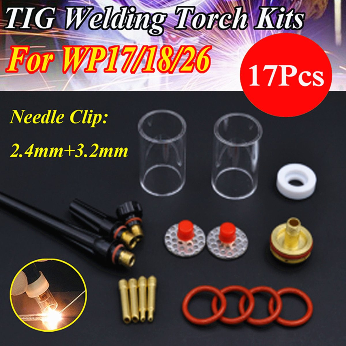 Hot Sale 17PCS TIG Welding Torch Gas Lens Pyrex Glass Cup Stubby Collet FOR WP-17/18/26 Series Welding Accessories wp 17f sr 17f tig welding torch complete 17feet 5meter soldering iron flexible