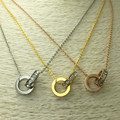2017 Fashion Luxury Brand Stainless Steel Zircon Bicyclo Pendant Necklace Screw Love necklace Women Gift