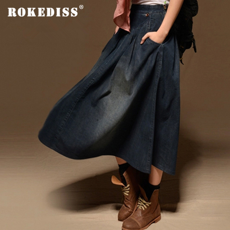 Women Maxi Skirt Pocket Women Casual Loose Skirt Long Denim Skirt Elastic Waist Fashion Vintage All