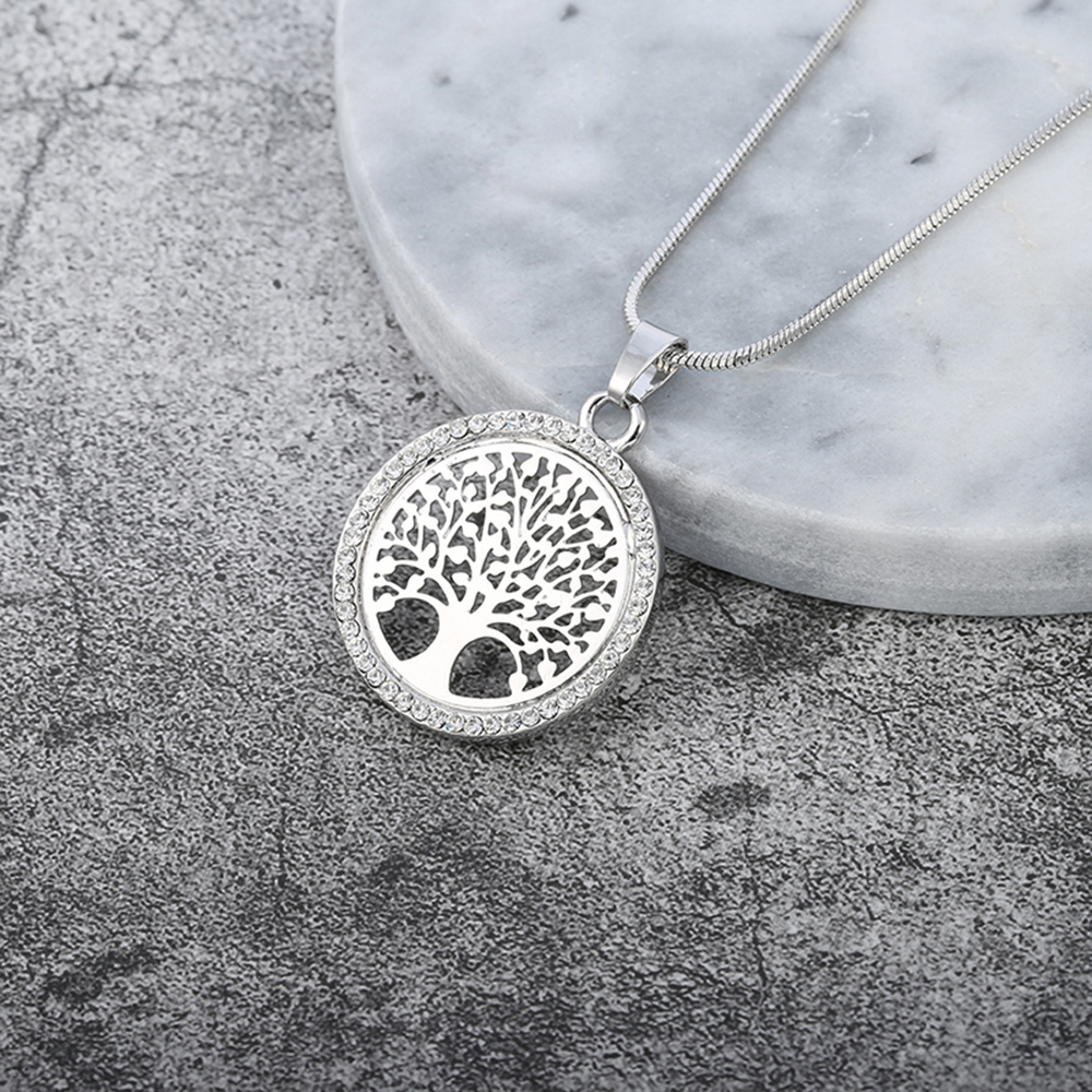 Hot Tree of Life Crystal Round Small Pendant Necklace Gold Silver Colors Bijoux Collier Elegant Women Jewelry Gifts Free Shipping 4