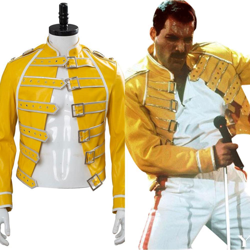 Queen Lead Vocals Freddie Mercury Cosplay Costume Mercury Jacekt jaune manteau hommes Costume Halloween carnaval Costume sur mesure