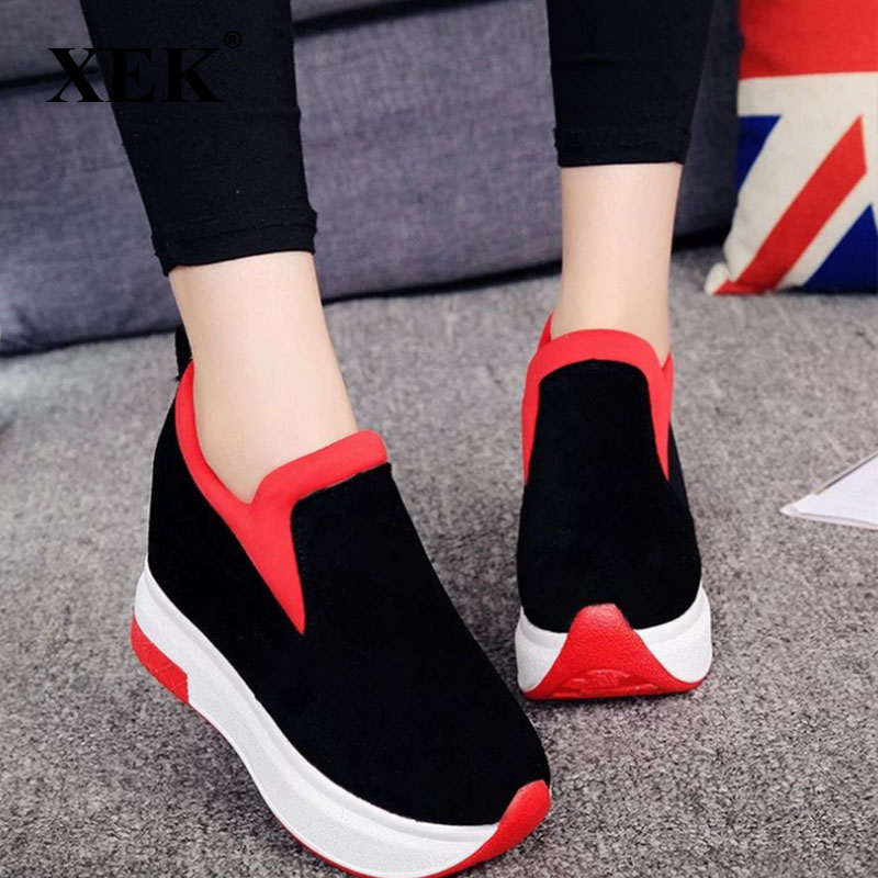 XEK 2018 Women Increased Shoes Women Fashion Platform Loafers Printed Casual Shoes Woman Wedges Shoes Breathable ZLL300 1