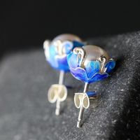 Ecoworld Ge jewelry wholesale natural pearl earrings anti allergy 925 pure Tremella nail Cloisonne Earrings