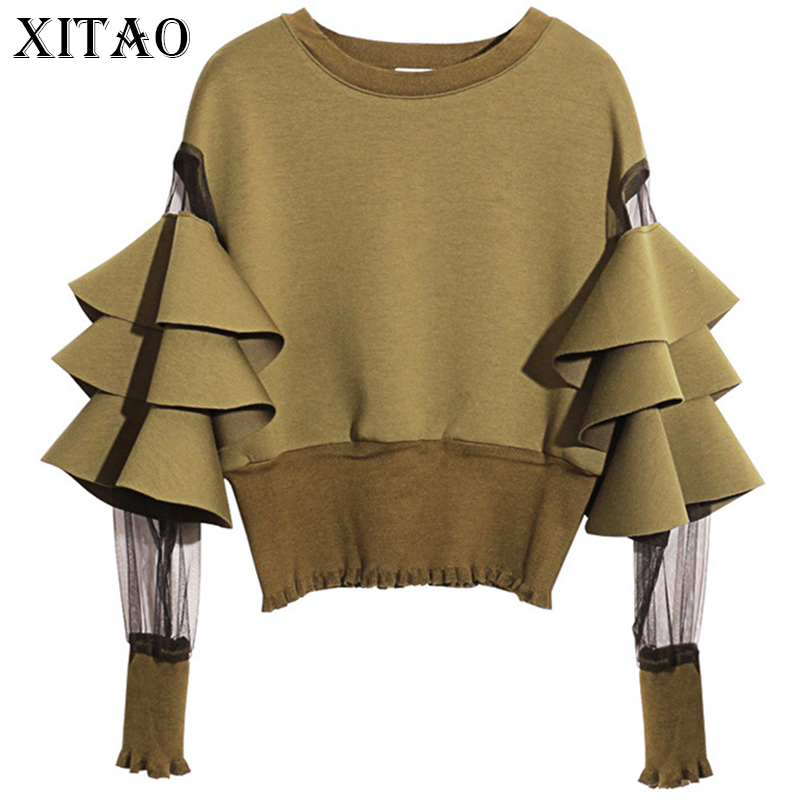 [XITAO] 2019 Europe Autumn New Women Mesh Patchwork Perspective Full Butterfly Sleeve O-Neck Pullover Short Sweatshirts XWW168