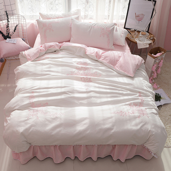 4-Pieces 1000% Cotton Luxury Bedding Set Embroidery Bed Set King Queen full twin Bed Linens Duvet Cover Bed Skirt