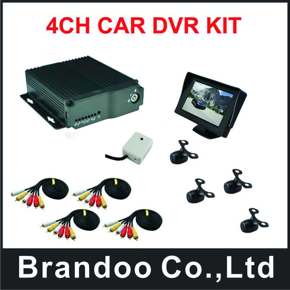 4ch dvr mobile 4 CHANNEL CAR video recorder kit, including 4 mini car cameras and monitor, for driving school car used 4ch d1 sd card mini mobile video surveillance dvr car dvr kit including camera and monitor for taxi vehicle