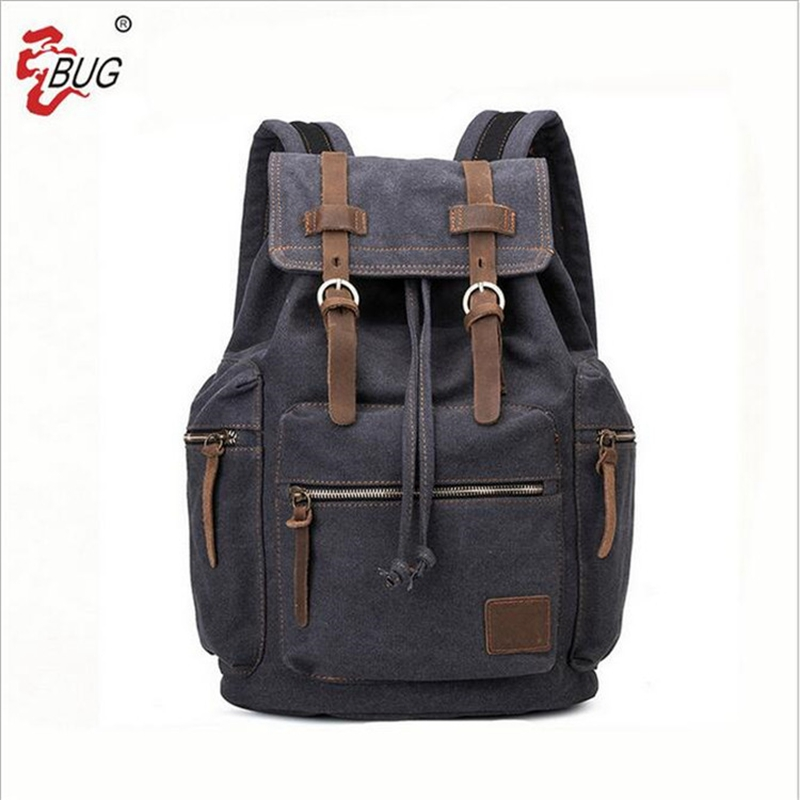 BUG Brand Vintage Men Backpack Fashion Male Canvas Bagback Luxury Designer 14'' Laptop School Bags Casual Men Travel Backpacks 14 15 15 6 inch flax linen laptop notebook backpack bags case school backpack for travel shopping climbing men women