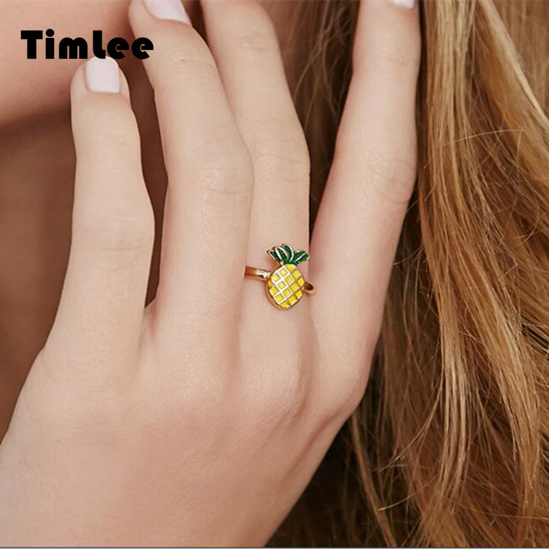 Timlee R016 Free shipping Sweet Fruit Pineapple Strawberry Finger Rings,Fashion Jewelry Wholesale