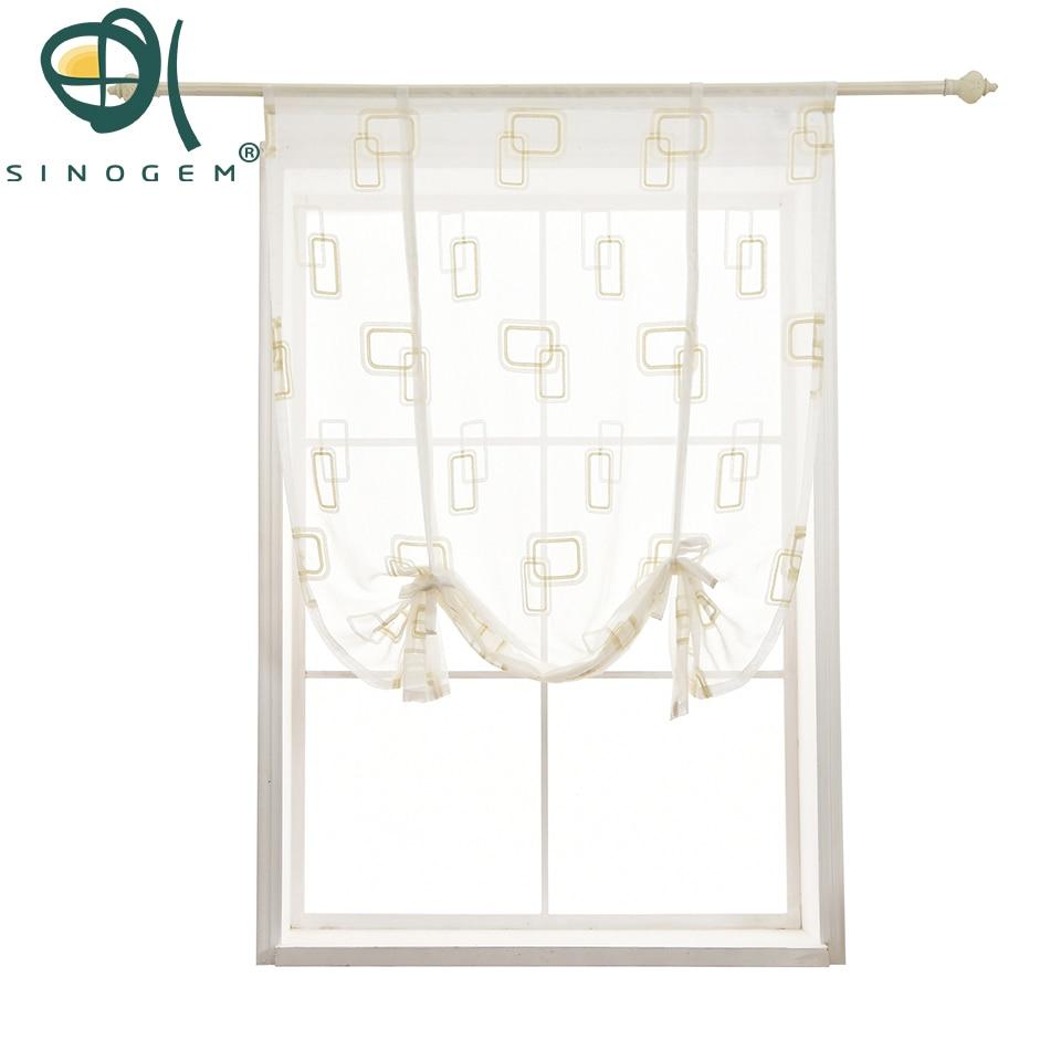 Sinogem Kitchen short curtain High-end embroidery roman blinds Geometric box sheer panel beige tulle window treatment door curta