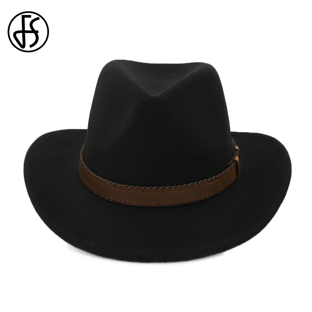 FS 2018 Ladies Winter Fedoras Cotton Black Vintage Tribly Felt Top Fedora  Hat For Men Wide a6b04058dda6