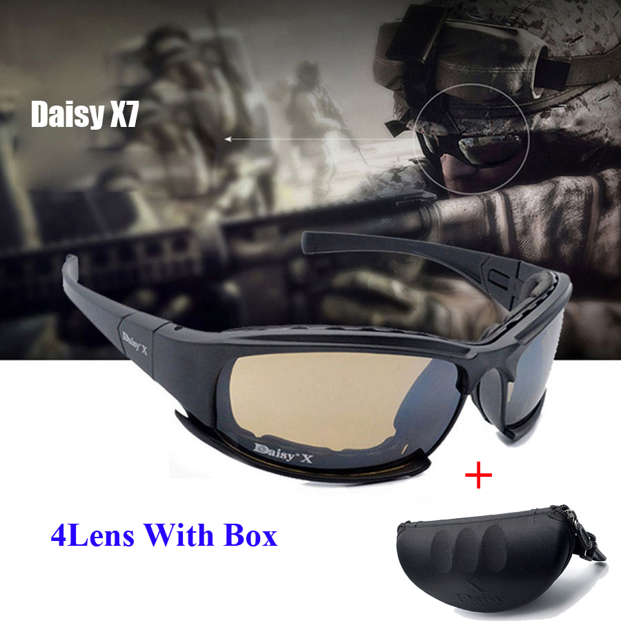 Daisy X7 Army Goggles Sunglasses Men Military Sun Glasses Male 4 Lens Kit For Men's War Game Tactical Glasses Oudoor Glasses