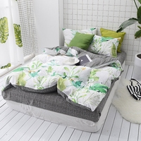 Green Leaves Print Bedding Set 100 Cotton Comfortable And Soft Bedclothes Queen King Size Duvet Cover