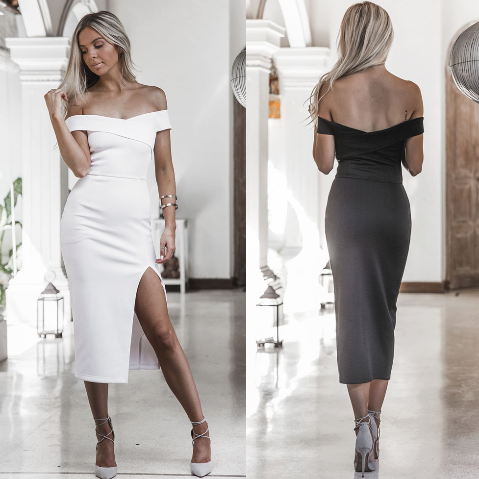 Vestidos 2017 New Style Summer Women Black White Dress Off Shoulder Sexy Casual Dress Slash Neck Knee Length Party Dresses 3