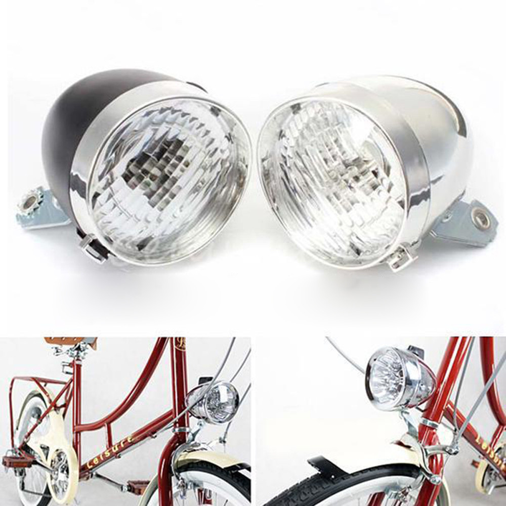 CHROME BICYCLE LIGHT SCHWINN TYPE HEADLIGHT BULLET COLUMBIA BIKE RETRO