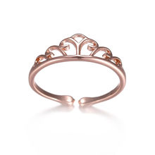 цена на Fashion Vintage Silver Rose Gold Hollow Crown Rings Adjustable Rings For Women Party Wedding Ring Jewelry