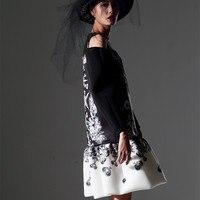 [EWQ] Новое лето 2018 Мода o образным вырезом заказ оригинальный бренд дизайн печатных большой оборками подол свободные платья женские AZ1
