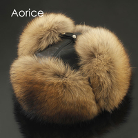 Aorice 170766 Men Fox Fur Raccoon Fur And Sheep Skin Hat Men S Fur Trapper Cap
