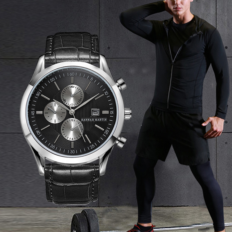 HM Luxury Sport Watch For Man 3 Eyes Faux Leather Quartz Waterproof Big Dial Military Wristwatch 2019 Date Stainless Business
