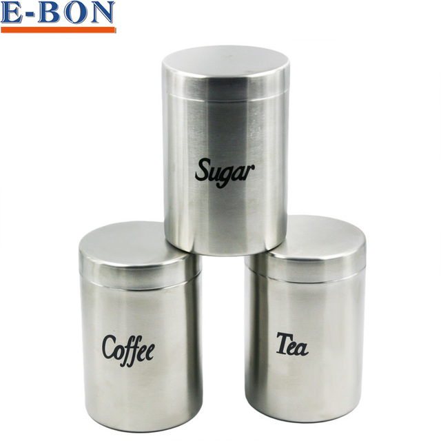 1pc Stainless Steel Coffee Tea Sugar Seal Pot Metal Dry Food Canister Kitchen Container Bo Premium