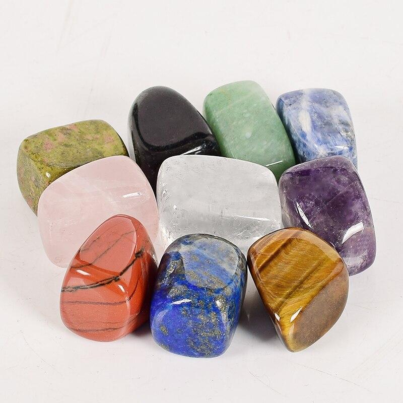10 teile/schachtel große größe Natürliche Chakra Getrommelt Stein Edelstein Rock Mineral Kristall polnischen Heilende meditation für feng shui decor
